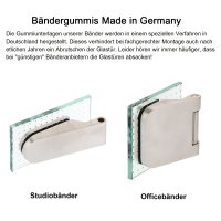 """Glastürschloss Studio """"D"""" UV (unverschließbar) inkl. Bänder Edelstahl matt"""