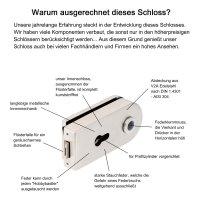 """Glastürschloss Studio """"D"""" PZ (Profilzylinder) inkl. Bänder Edelstahl matt"""