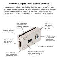"""Glastürschloss Studio """"Q"""" PZ (Profilzylinder) inkl. Bänder Edelstahl matt"""