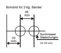"Glastürschloss Studio ""D"" PZ (Profilzylinder) inkl. Bänder Messing poliert PVD"