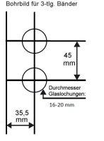 """Glastürschloss Studio """"D"""" UV (unverschließbar) inkl. Bänder Edelstahl poliert"""