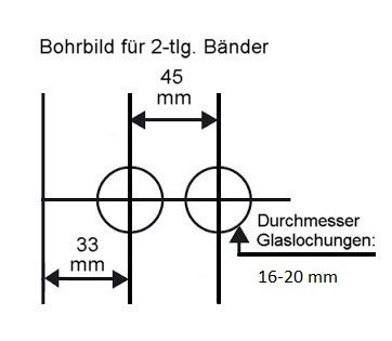 "Glastürschloss Studio ""D"" BB (Buntbart) inkl. Bänder Edelstahl poliert"