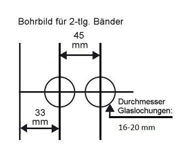 "Glastürschloss Studio ""D"" PZ (Profilzylinder) inkl. Bänder Edelstahl poliert"