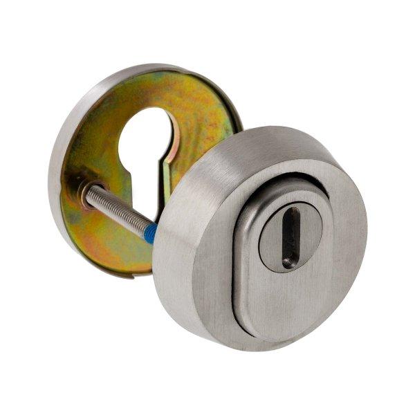 Schutzrosette   ES1 (WK2) + Feuerschutz zertifiziert   V2a Edelstahl matt   Kernziehschutz