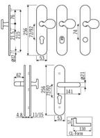 Goli Z Langschildgarnitur 72mm für Wohneingangstüren