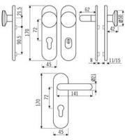 Goli KS Kurzschildgarnitur 72mm ES1+F Edelstahl matt