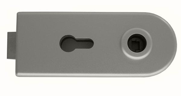 Glastürschloss Studio D Aluminium EV1 silber matt inkl. 3-tlg. Bänder
