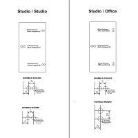 """Glastürbeschlag-Set Studio """"D3"""" BB (Buntbart) Edelstahl matt inkl. Bänder"""