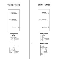 "Glastürbeschlag-Set Studio ""D3"" WC (Stickhebel) Edelstahl matt inkl. Bänder"
