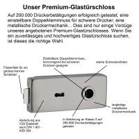 "Glastürbeschlag-Set Studio ""Q3"" BB (Buntbart) Edelstahl matt inkl. Bänder"