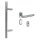 Stoßgriff 45° m. ovaler Schutzrosette inkl. Zylinderabdeckung Edelstahl matt / Griff New Orleans