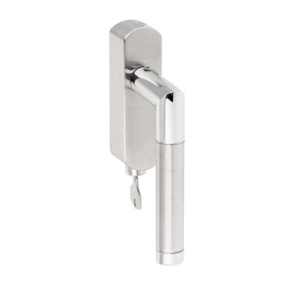 Abschließbarer Fenstergriff Rund | V2A Edelstahl matt | Stiftlänge 35 mm + 43 mm | Core