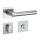 Drückergarnitur New Orleans Q | 3 mm Magnet-Flachrosette | festdrehbare Lagerung | V2A Edelstahl matt