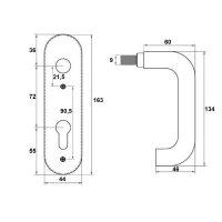Feuerschutz Kurzschild PZ (Profilzylinder) Edelstahl matt | Drücker/Knauf Orlando