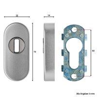 ovale Schutzrosette   Zylinderschutz   Aluminium F1   Höhe 14 mm   *Made in Germany*