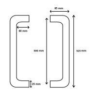 Griffpaar für Schiebetüren | V2A Edelstahl matt | Lochabstand: 500 mm | Für Holz- und Glastüren