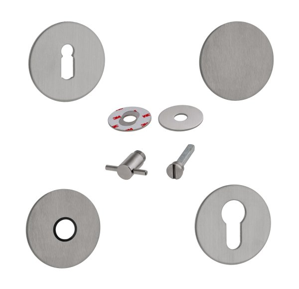 1 Paar Kleberosetten | 2 mm hoch | V2A Edelstahl matt