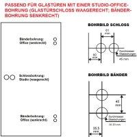 Glastürbeschlag Q3 PZ   inkl. Officebändern + RT   Schwarz matt   auch objektgeeignet