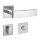 Drückergarnitur Square Tall Q | 3 mm Magnet-Flachrosette | festdrehbare Lagerung | V2A Edelstahl matt
