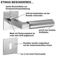 Drückergarnitur Bauhaus Q | 3 mm Magnet-Flachrosette...