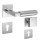 Drückergarnitur Bauhaus Q   3 mm Magnet-Flachrosette   festdrehbare Lagerung   V2A Edelstahl matt