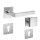 Drückergarnitur Square Min Q | 3 mm Magnet-Flachrosette | festdrehbare Lagerung | V2A Edelstahl matt